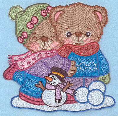 "Embroidery Design: Boy and Girl teddy large4.91""Hx5.00""W"