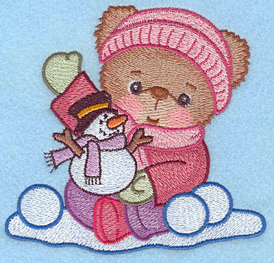 "Embroidery Design: Girl teddy waving large4.45""HX4.73""W"