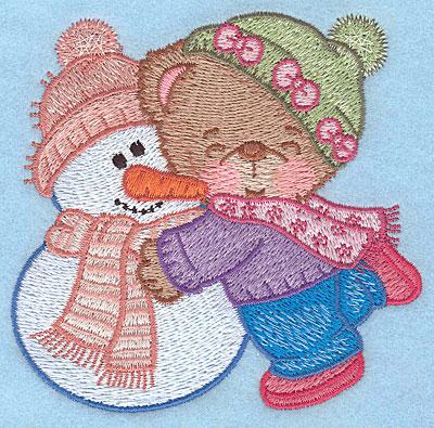 """Embroidery Design: Bear hugging snowman small3.79""""Hx3.90""""W"""