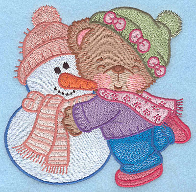 "Embroidery Design: Bear hugging snowman large4.84""Hx5.00""w"