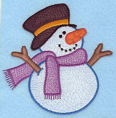 "Embroidery Design: Snowman with top hat large4.08""Hx4.07""W"