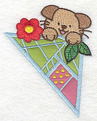 Embroidery Design: Puppy with flower small 3 appliques 3.11w X 3.88h