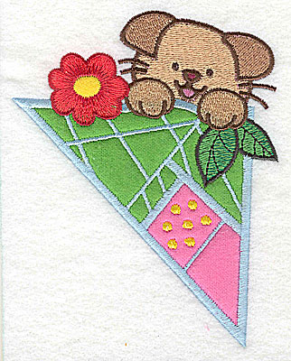 Embroidery Design: Puppy with flower large 3 appliques 3.98w X 4.97h