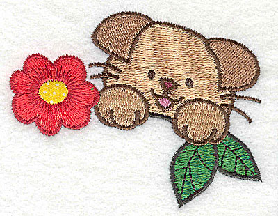 Embroidery Design: Puppy with flower 1 applique 3.47w X 2.61h
