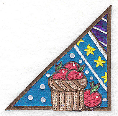 Embroidery Design: Corner basket of apples small 2 appliques 3.84w X 3.87h