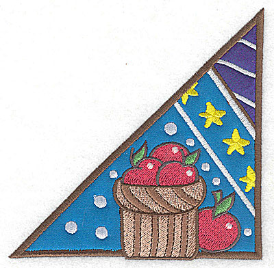 Embroidery Design: Corner basket of apples large 2 appliques 4.92w X 4.96h