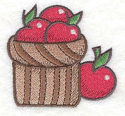 Embroidery Design: Basket of apples 2.48w X 2.33h