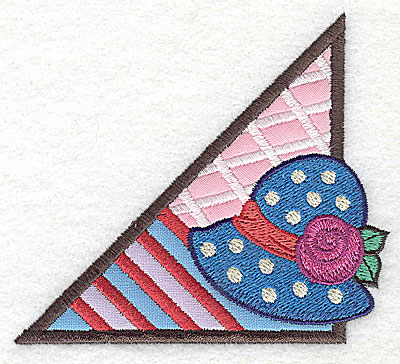 Embroidery Design: Corner ladies hat small 3 appliques 3.89w X 3.44h