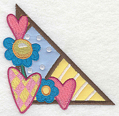 Embroidery Design: Corner hearts and flowers small 2 appliques 3.86w X 3.77h