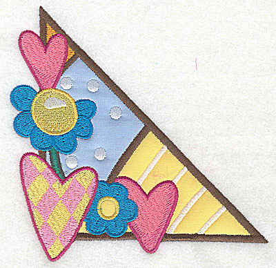 Embroidery Design: Corner hearts and flowers large 2 appliques 4.99w X 4.86h