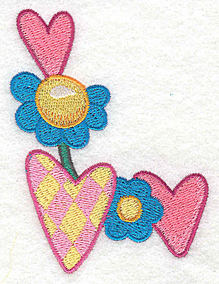 Embroidery Design: Hearts and flowers  2.59w X 3.52h
