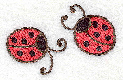 Embroidery Design: Two ladybugs 2.78w X 1.80h