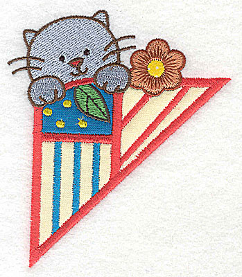 Embroidery Design: Corner kitten small 3 appliques 3.30w X 3.86h