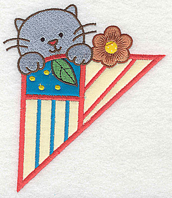 Embroidery Design: Corner kitten large 3 appliques 4.23w X 4.97h