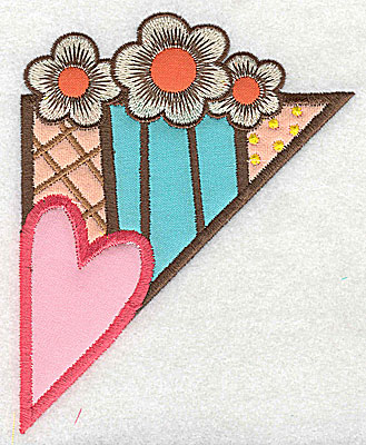 Embroidery Design: Corner heart and flowers large 4 appliques3.95w X 4.96h