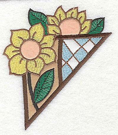 Embroidery Design: Corner sunflowers small 3 appliques 3.51w X 3.88h