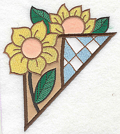 Embroidery Design: Corner sunflowers large 3 appliques 4.50w X 4.96h