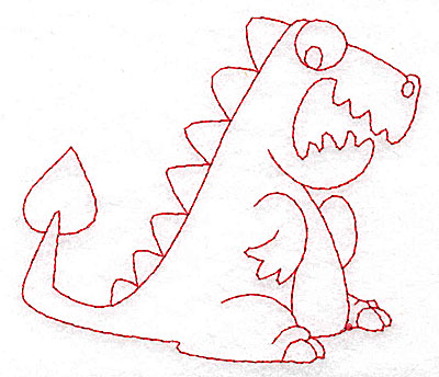 Embroidery Design: Dinosaur A redwork small 3.84w X 3.33h
