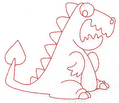 Embroidery Design: Dinosaur A redwork large 4.96w X 4.30h
