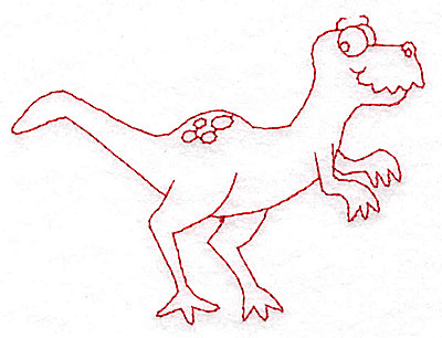 Embroidery Design: Dinosaur B redwork small 3.87w X 2.89h