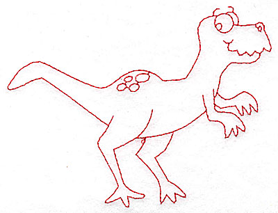 Embroidery Design: Dinosaur B redwork large 4.95w X 3.70h