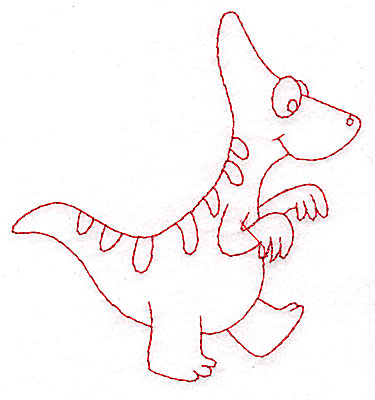 Embroidery Design: Dinosaur C redwork small 3.68w X 3.87h