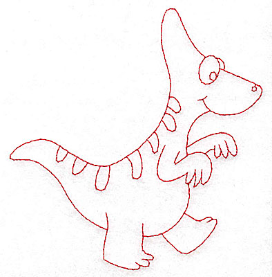 Embroidery Design: Dinosaur C redwork large 4.71w X 4.95h