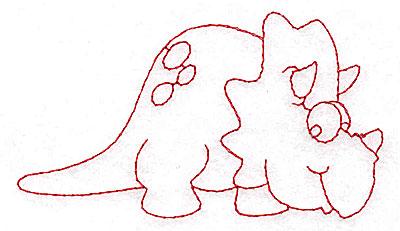 Embroidery Design: Dinosaur E redwork small 3.87w X 2.19h