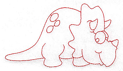 Embroidery Design: Dinosaur E redwork large 4.95w X 2.80h