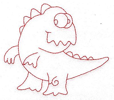 Embroidery Design: Dinosaur F redwork small 3.88w X 3.44h