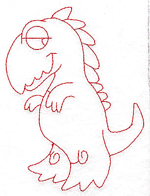 Embroidery Design: Dinosaur G redwork large 3.82w X 4.95h