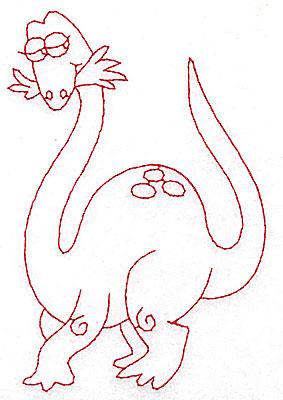 Embroidery Design: Dinosaur H redwork large 3.29w X 4.94h