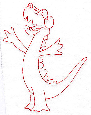 Embroidery Design: Dinosaur I redwork large 3.77w X 4.96h