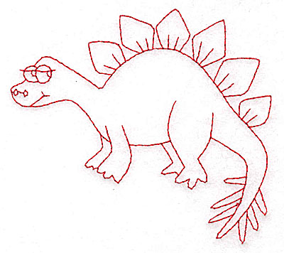 Embroidery Design: Dinosaur J redwork small 3.87w X 3.56h