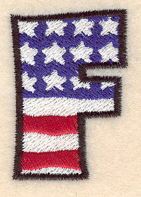 """Embroidery Design: F large  2.01""""h x 1.36""""w"""