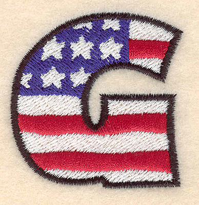 """Embroidery Design: G large  2.01""""h x 1.94""""w"""