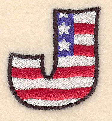 """Embroidery Design: J large  2.01""""h x 1.84""""w"""