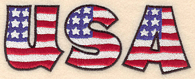 """Embroidery Design: USA large  2.10""""h x 5.66""""w"""