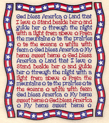 "Embroidery Design: American song with banner frame  7.76""h x 6.65""w"