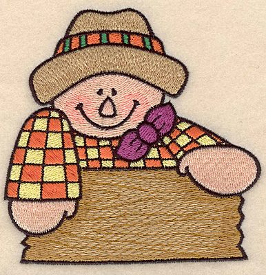 """Embroidery Design: Scarecrow with sign large 4.43""""w X 4.45""""h"""
