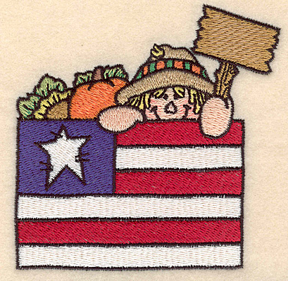 "Embroidery Design: Scarecrow with flag small 3.89""w X 3.89""h"
