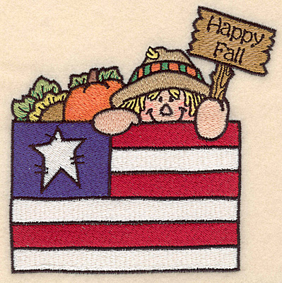 """Embroidery Design: Scarecrow with flag large Happy Fall 5.00""""w X 5.00""""h"""