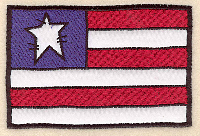 "Embroidery Design: Flag stars and stripes applique 5.00""w X 3.36""h"