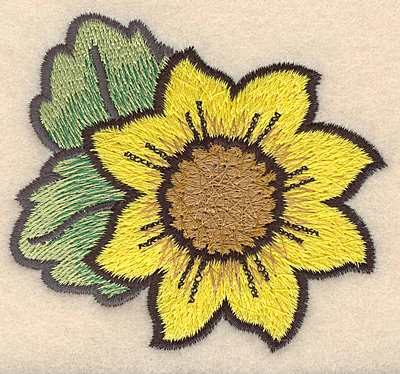 """Embroidery Design: Sunflower large 3.05""""w X 2.77""""h"""