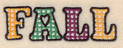 "Embroidery Design: Fall small 3.00""w X 0.96""h"