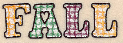 "Embroidery Design: Fall large 5.00""w X 1.58""h"