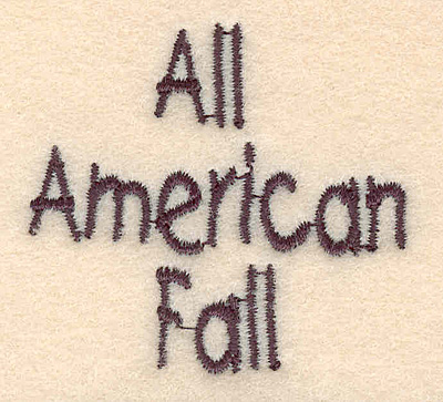 "Embroidery Design: All American Fall small 1.98""w X 1.83""h"
