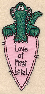 Embroidery Design: Alligator with applique heart 2.69w X 5.78h