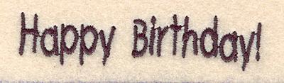 Embroidery Design: Happy Birthday small 3.24w X 0.72h