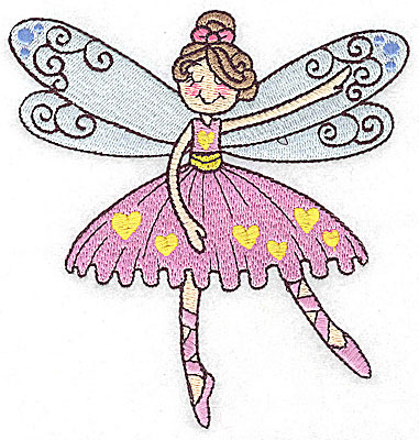 Embroidery Design: Dancing Fairy A large 4.73w X 4.98h